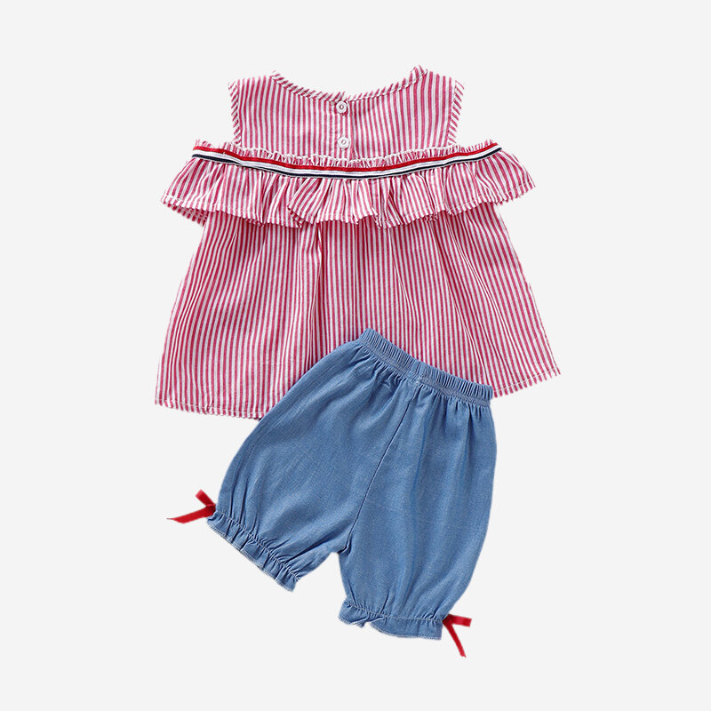 Girl's Striped Print Ruffled Tops+Pants Casual Clothing Set For 1-7Y