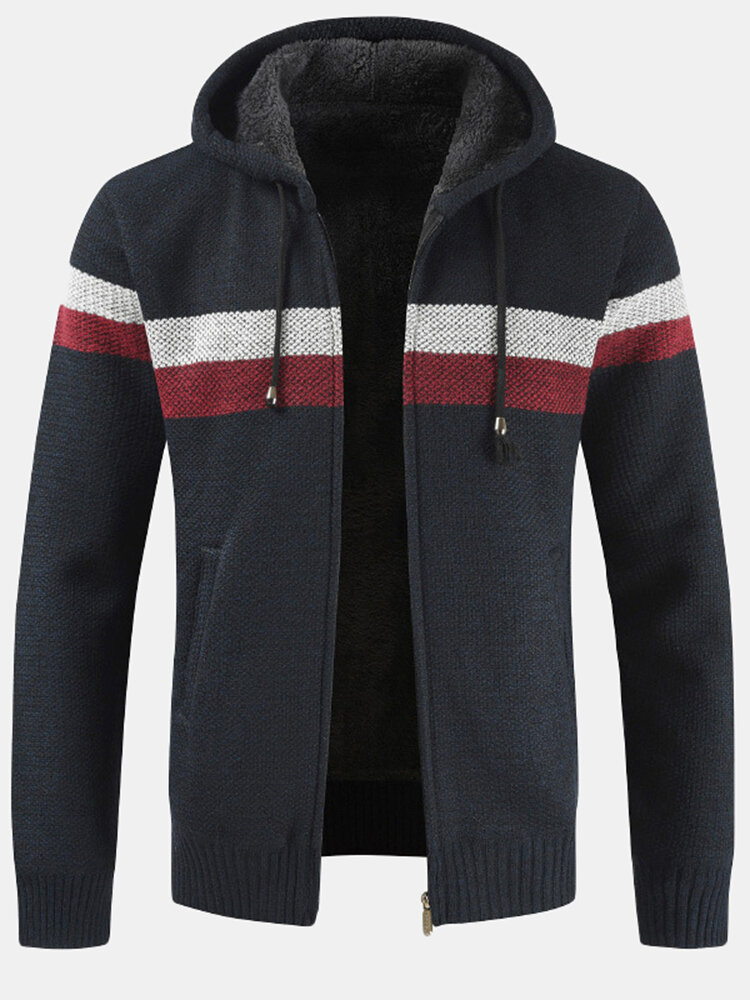 Mens Patchwork Zip Front Rib-Knit Plush Lined Hooded Cardigans With Pocket