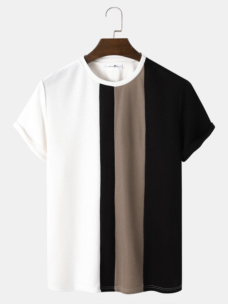 Mens Block Stripe Stitching Knitted Preppy Short Sleeve T-Shirts