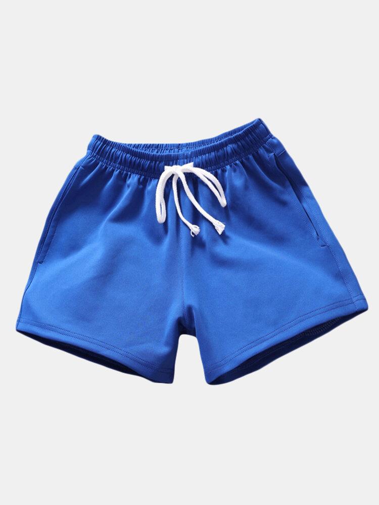 Mens Summer Solid Color Drawstring Casual Board Shorts Running Shorts
