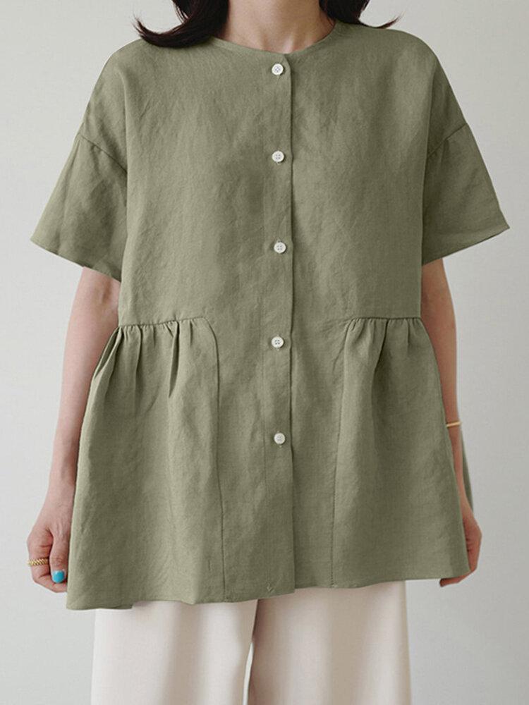プレーンプリーツボタンフロントOネックPlusサイズカジュアルシャツ