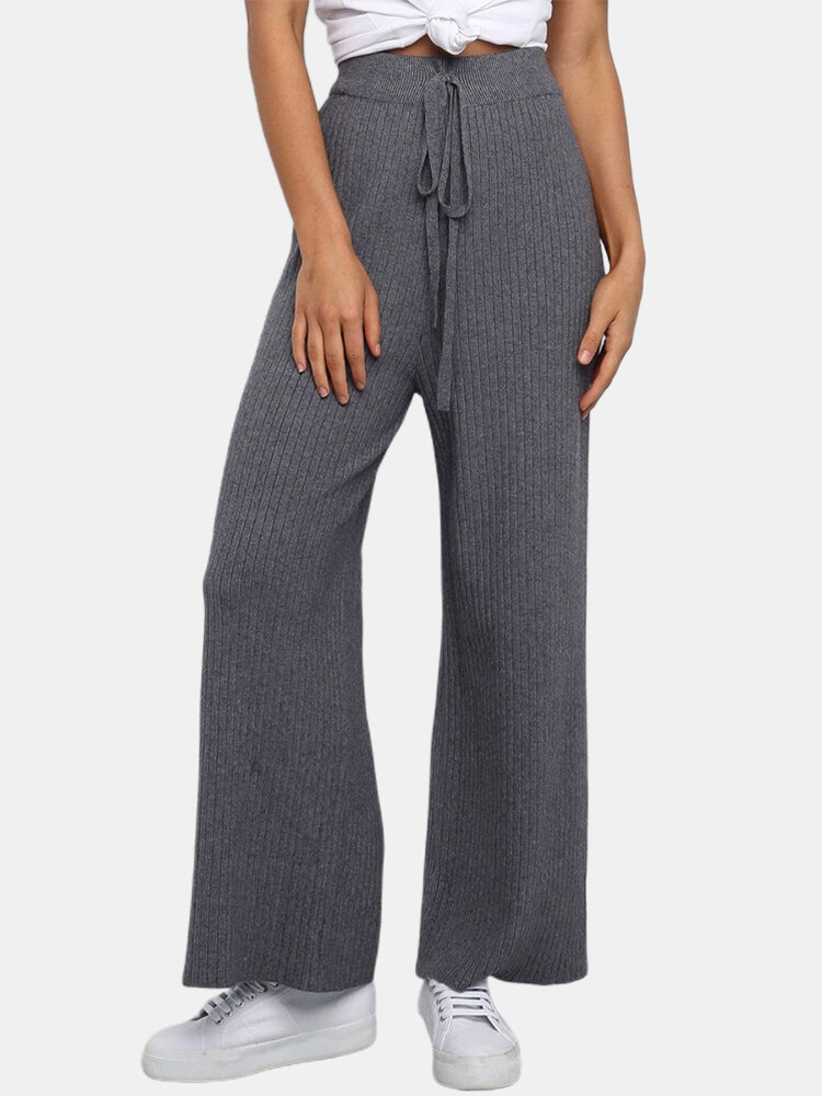 High Waisted Casual Elastic Straight Pants For Women