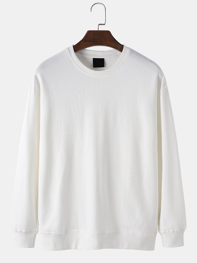 Mens 100% Cotton Solid Color Basic Casual Drop Sleeves Pullover Sweatshirts