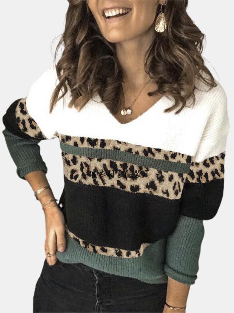 Suéter con cuello en V y estampado de leopardo parcheado para Mujer