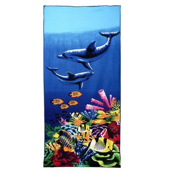 Абсорбирующая микрофибра с принтом синего дельфина и пингвина 70x150 см Пляжный Полотенца Быстросохнущее банное полотенце