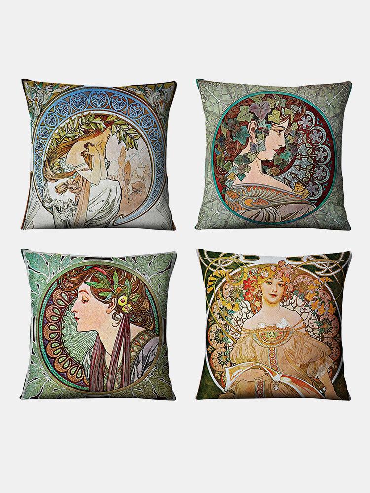 4 Pcs A Set Pillow Case Linen Gallery Muxia Beautiful Girl Pillow Cushion Cover Throw Pillow Cover Home Car Supplies