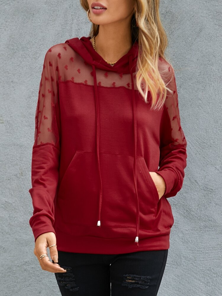 Women Solid Color Patchwork Mesh Pocket Long Sleeve Casual Hoodie