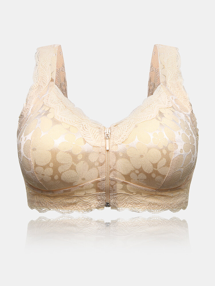 Lace Front Zipper Wireless Thin Gather Breathable Home Comfy Bra