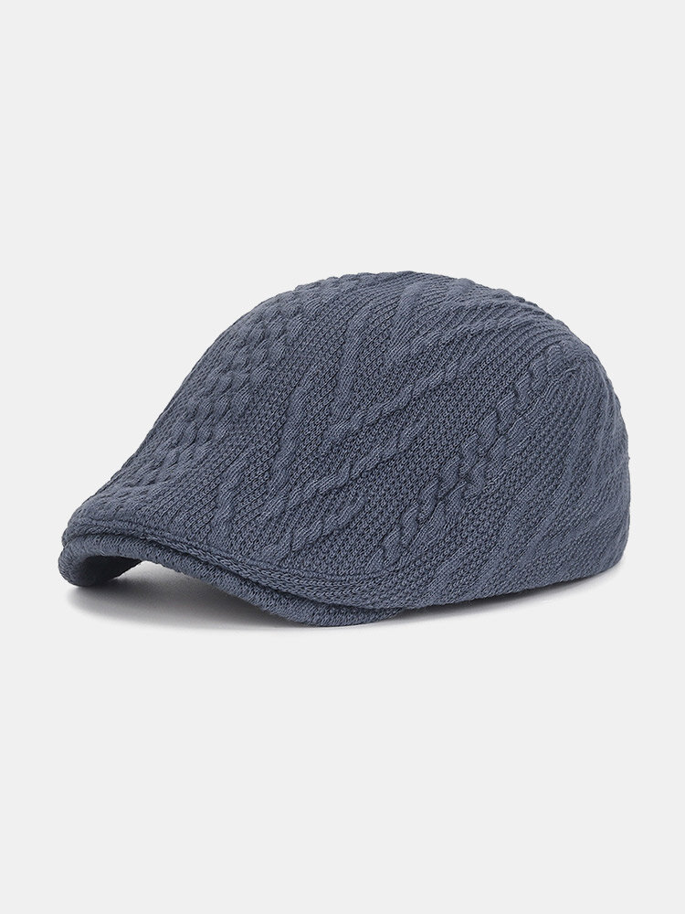 Men Knitted Solid Color Twist Pattern Casual Warmth Beret Flat Cap