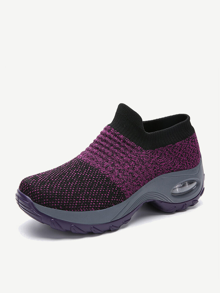 Large Size Women Outdoor Breathable Sock Mesh Rocking Shoes