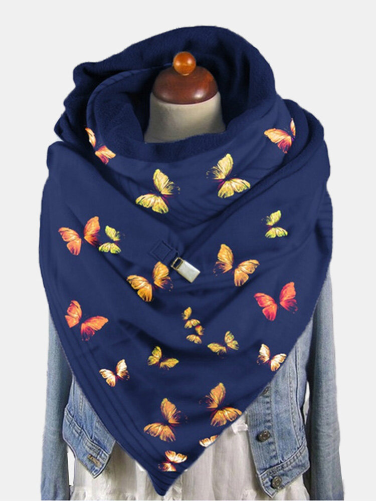 Women Dacron Colorful Butterfly Pattern Print With Buckle Casual Thicken Warmth Shawl Scarf