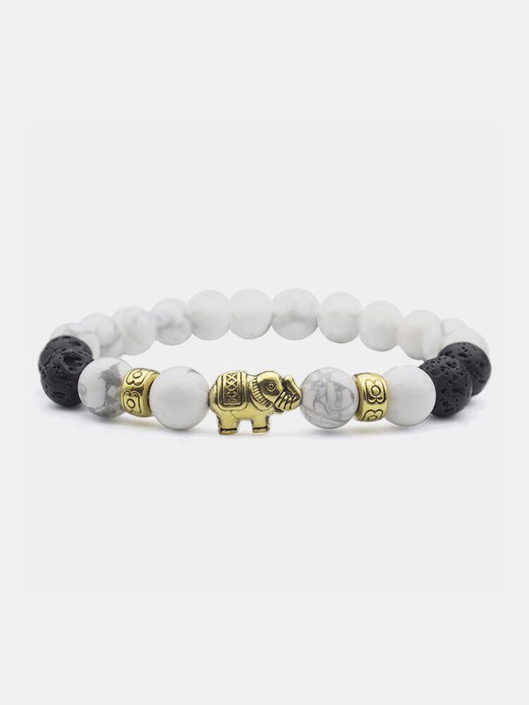 Ethnic Style White Turquoise Bracelet Gold Elephant Beaded Bracelet 8mm Beaded Bracelet