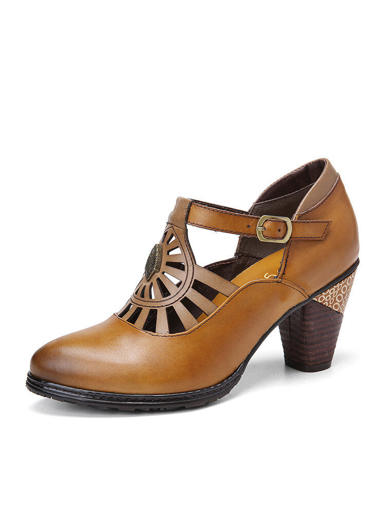 SOCOFY Vintage Leather Adjustable Buckle Strap Cut-out Burnished Chunky Heel Heels