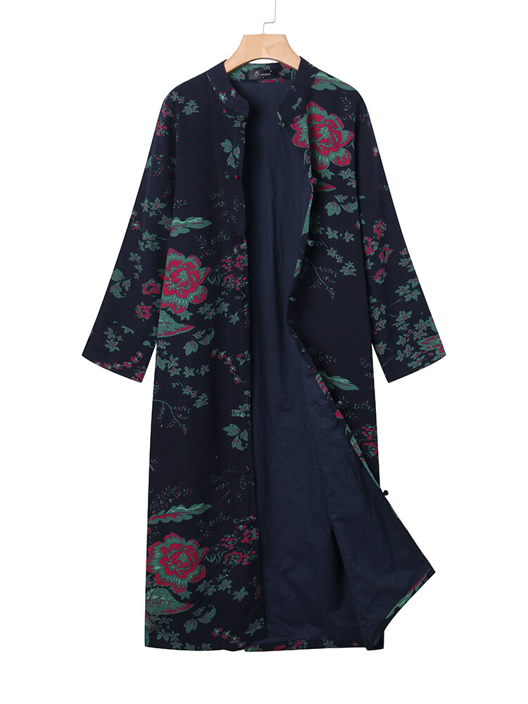 O-NEWE Vintage Flower Printed Long Trench Coats - Newchic Plus Size Outerwear