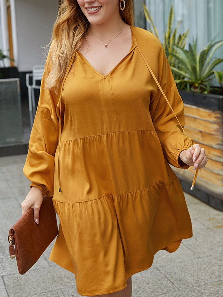 Solid V-neck Drawstring Plus Size Long Sleeve Tiered Dress