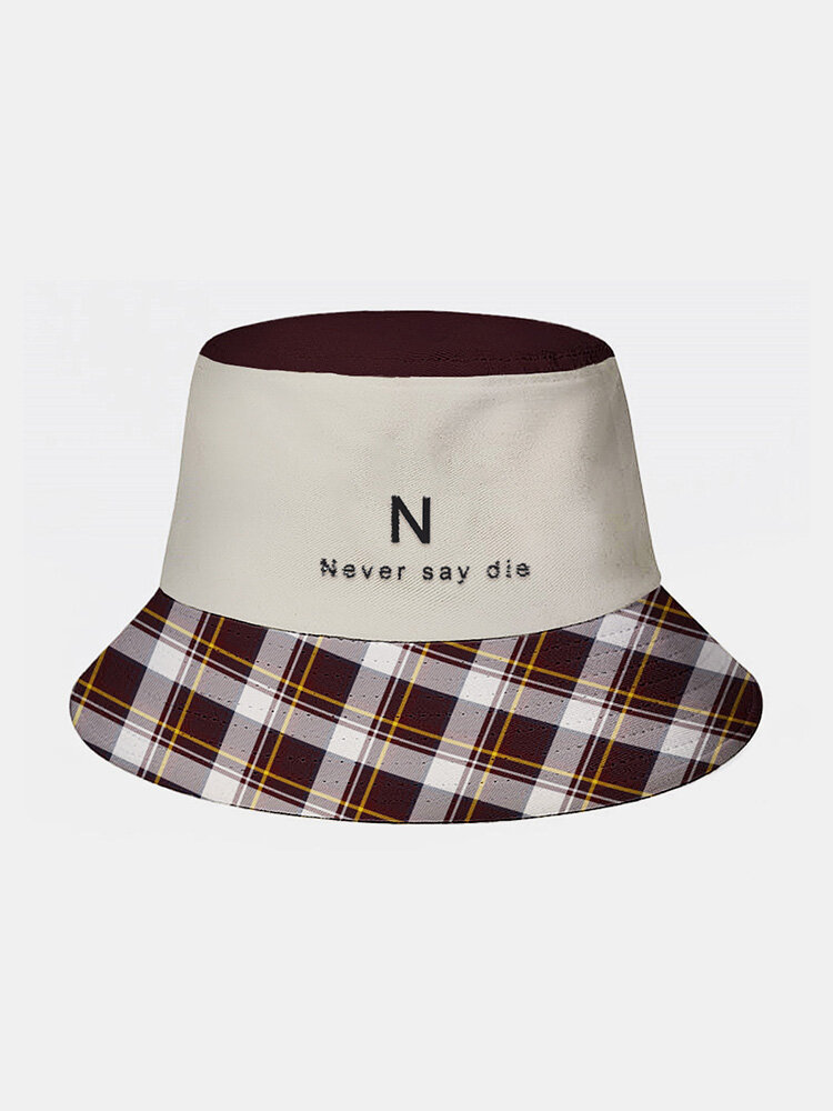 Unisex Polyester Cotton Solid Gingham Patchwork Letters Embroidery Fashion Sunscreen Bucket Hat