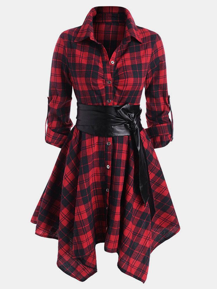 Plaid Print Lapel Long Sleeve Button Plus Size Asymmetrical Dress with Belt