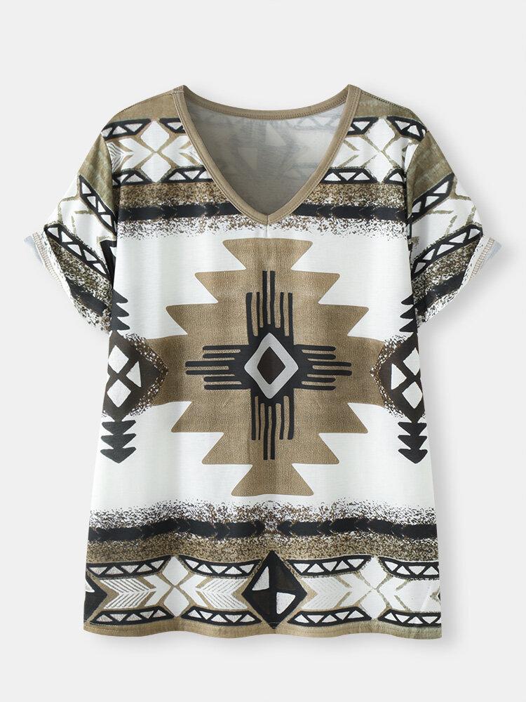 Geometrisches ethnisches Muster V-Ausschnitt Kurzarm Lose T-Shirt
