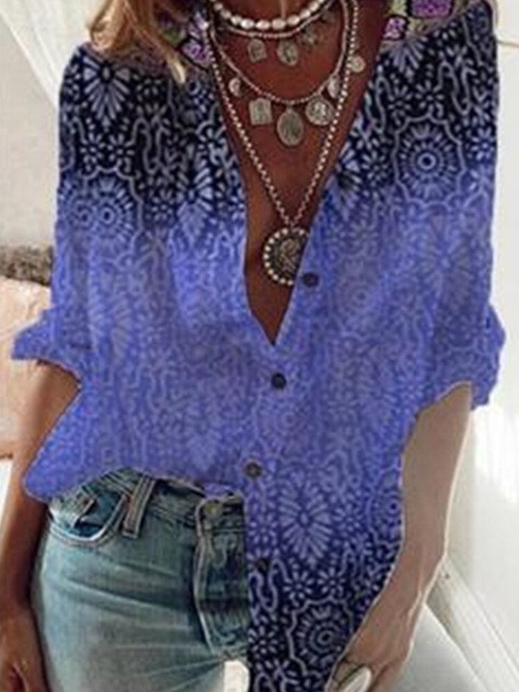 Women Gradient Color Print Button Loose Casual Blouse