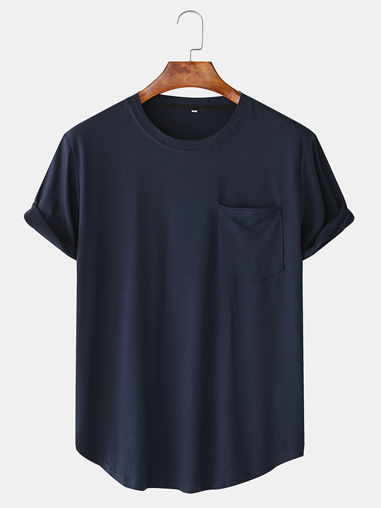 Men Cotton Plain Chest Pocket Home Casual Loose Short Sleeve T-Shirt