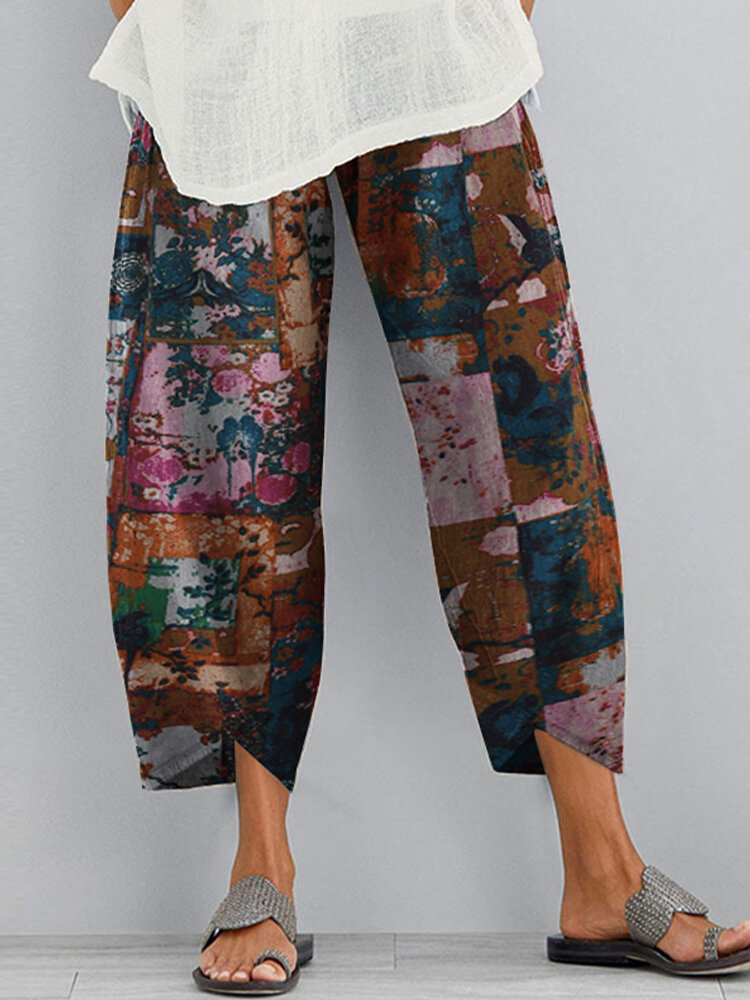 Flower Print Elastic Waist Casual Pant For Women With Pocket