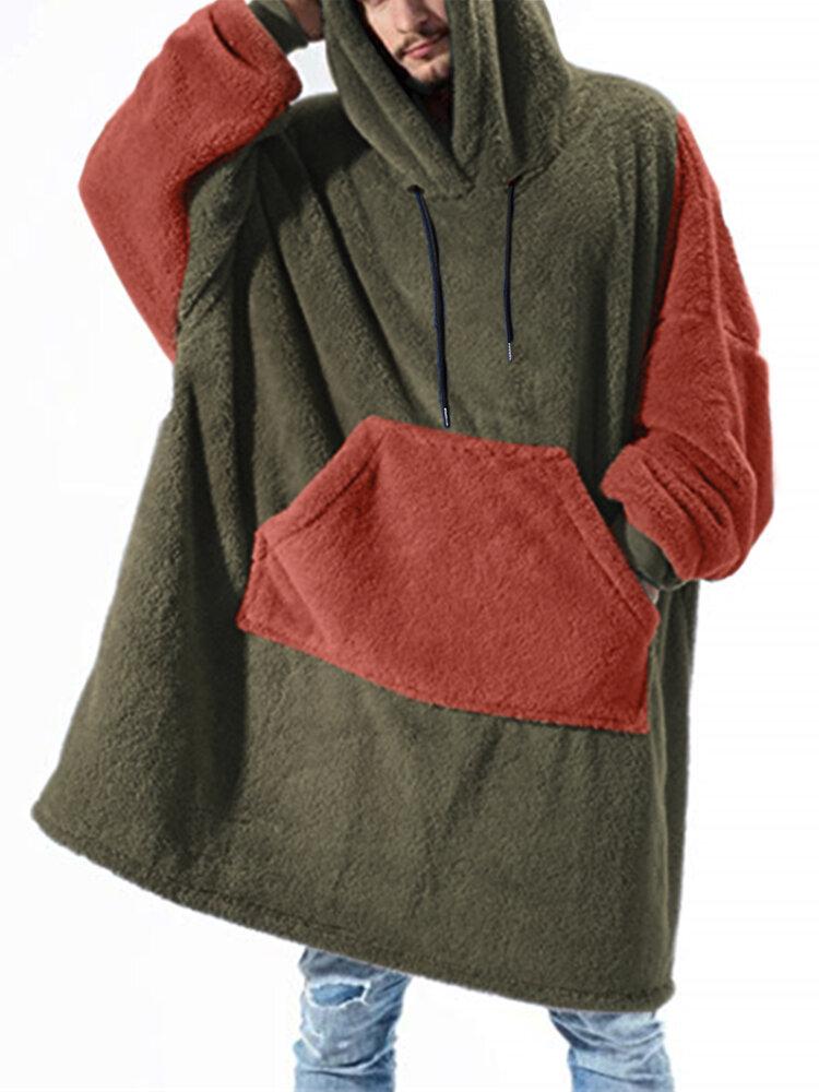 Men Flannel Oversized Contrast Color Blanket Hoodies Patched Sleeves & Kangaroo Pocket Wearable Blankets Robes