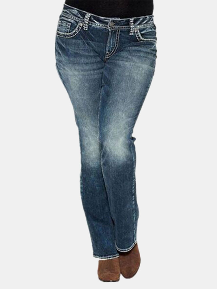 Women Ripped Mid Waist Casual Denim Jeans With Pocket