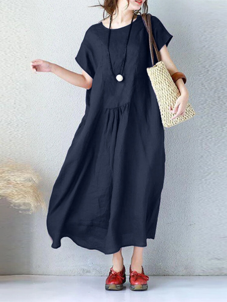 Casual Solid Color Pleated Loose Plus Size Dress with Pockets