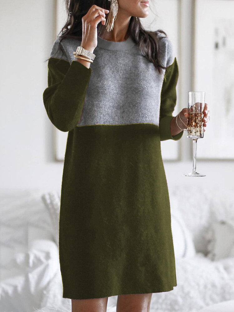 Contrast Color Patchwork Long Sleeve Casual Dress For Women