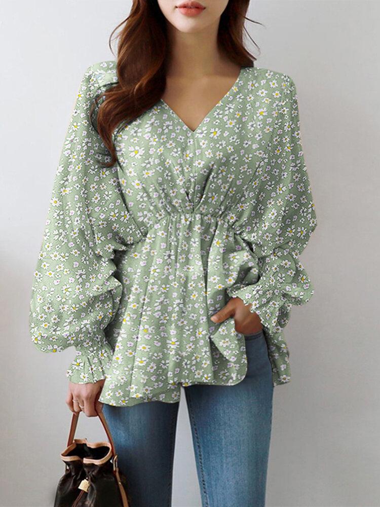 Lantern Long Sleeve V-neck Floral Print Women Blouse