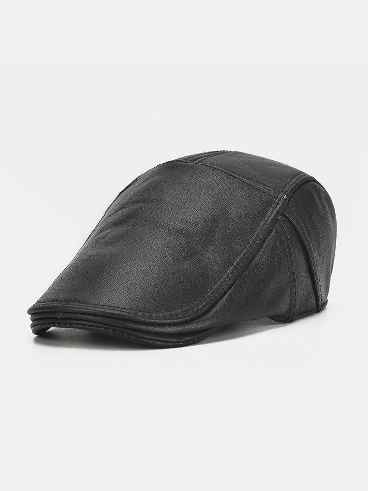 Men Leather Lace-up Beret Caps Casual Outdoor Winter Warm Windproof Duck Hats Adjustable Caps