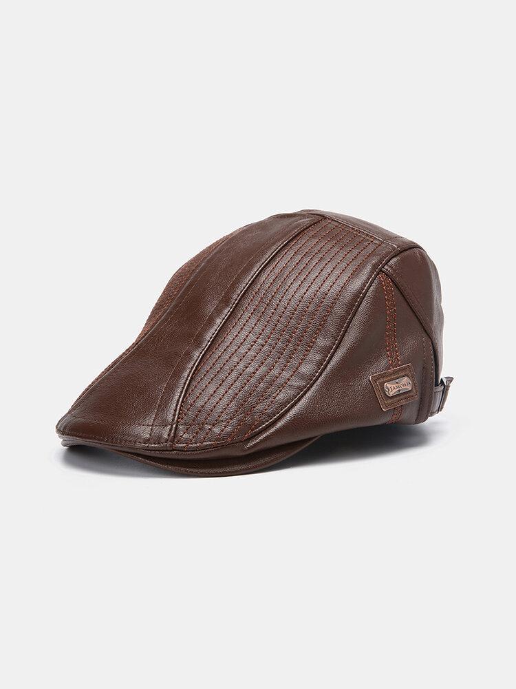 Chapeau de béret en cuir pour hommes Casquette de gavroche décontractée Chapeaux chauds avec casquettes plates à texture d'aiguille