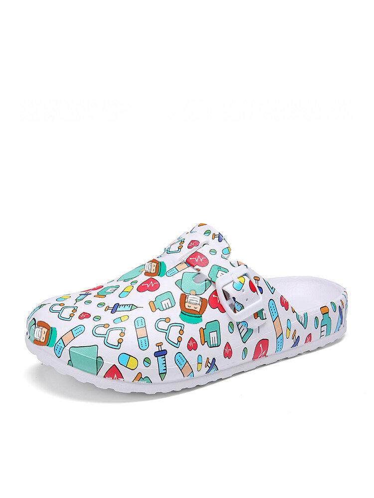 SOCOFY Lightweight Slip-on Buckle Strap Mules Waterproof Non-slip Working Nursing Shoes Fatbaby Sandals