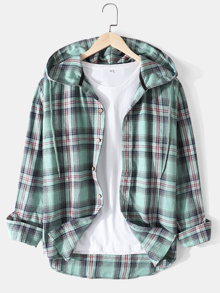 Mens Plaid Cotton Relaxed Fit Long Sleeve Drawstring Hooded Shirts