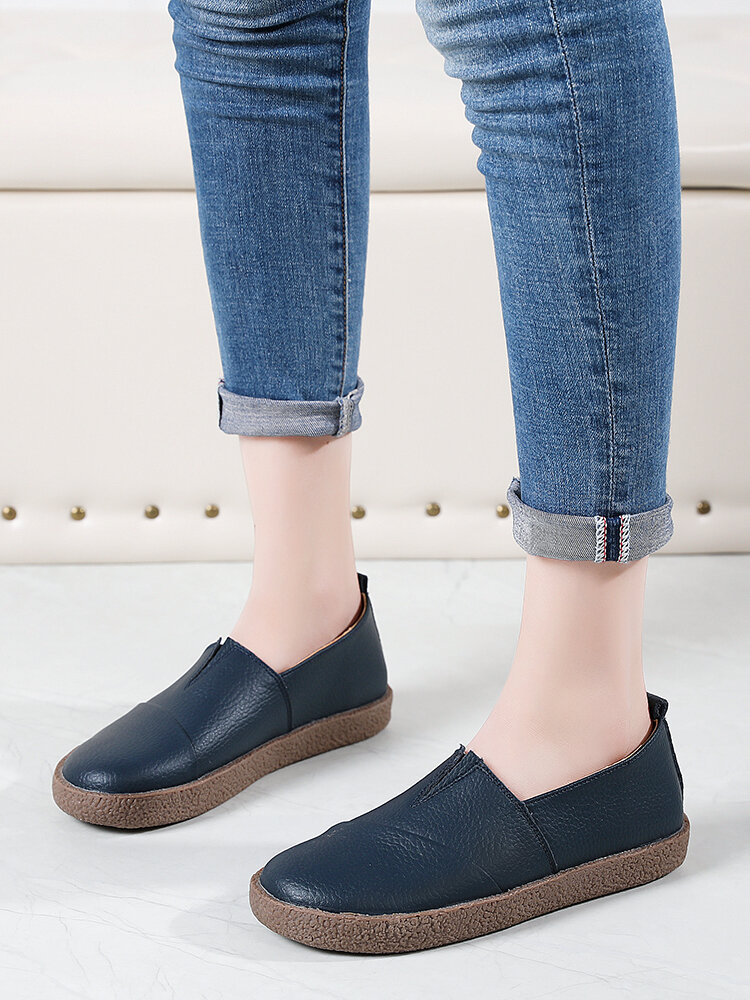 Women's Leather Casual Slip On Flat Loafers Shoes
