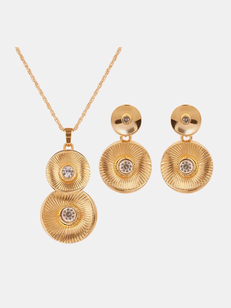 Simple Jewelry Set Gold Plated Rhinestone Round Set