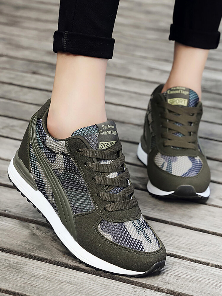 Women Comfort Slip Resistant Camouflage Lace-up Flat Casual Shoes
