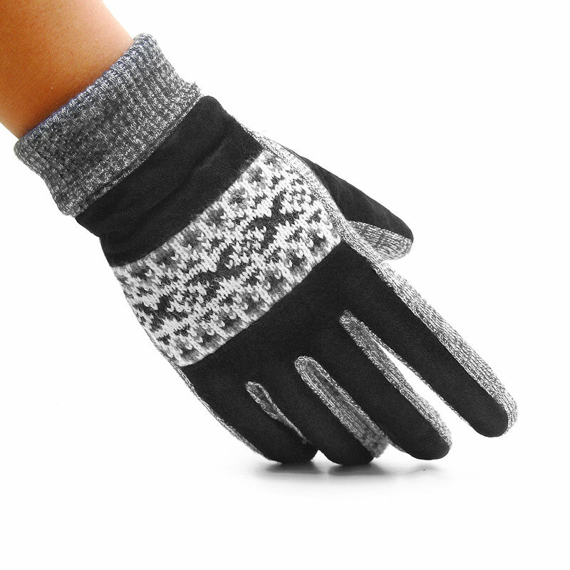 Mens Winter Non-slip Warm Full-finger Gloves Outdoor Windproof High Quality Pig Skin Gloves