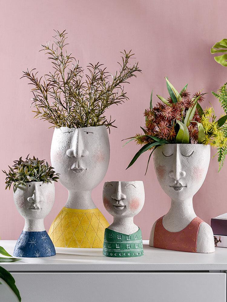 1PC Art Portrait Flower Pot Vase Sculpture Resin Human Face Family Flower Pot Handmade Garden Storage Flower Arrangement Home Decors