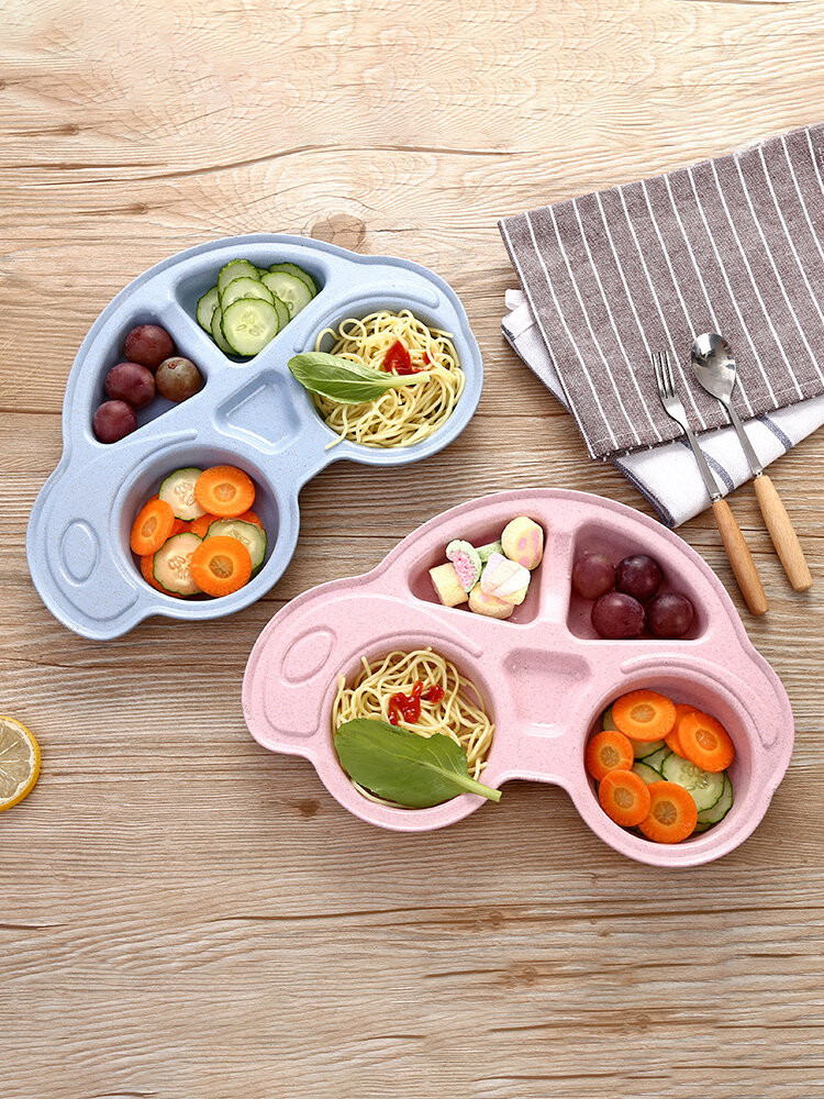 1PC 4-Grid Environmental Wheat Straw Bowl Practical Design Children Novelty Spill-Proof Solid Feeding Toddler Baby Plate Kids Happy Mat Suction Only Table Food Tray