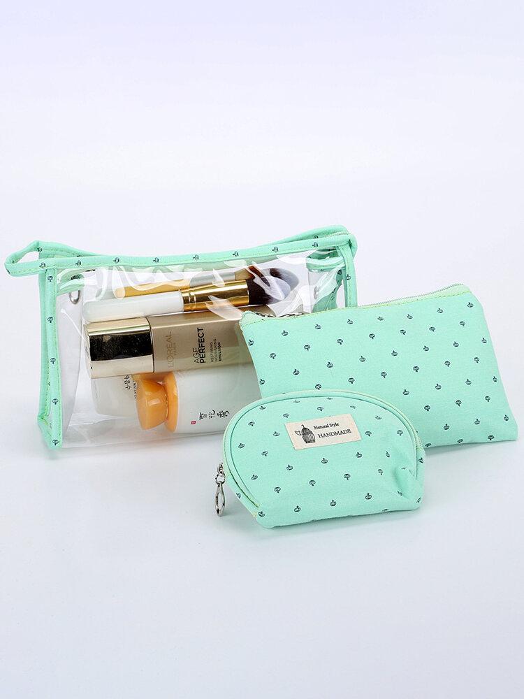 3Pcs PVC Transparent Candy Color Cosmetic Bag Travel Organizer Storage Bag