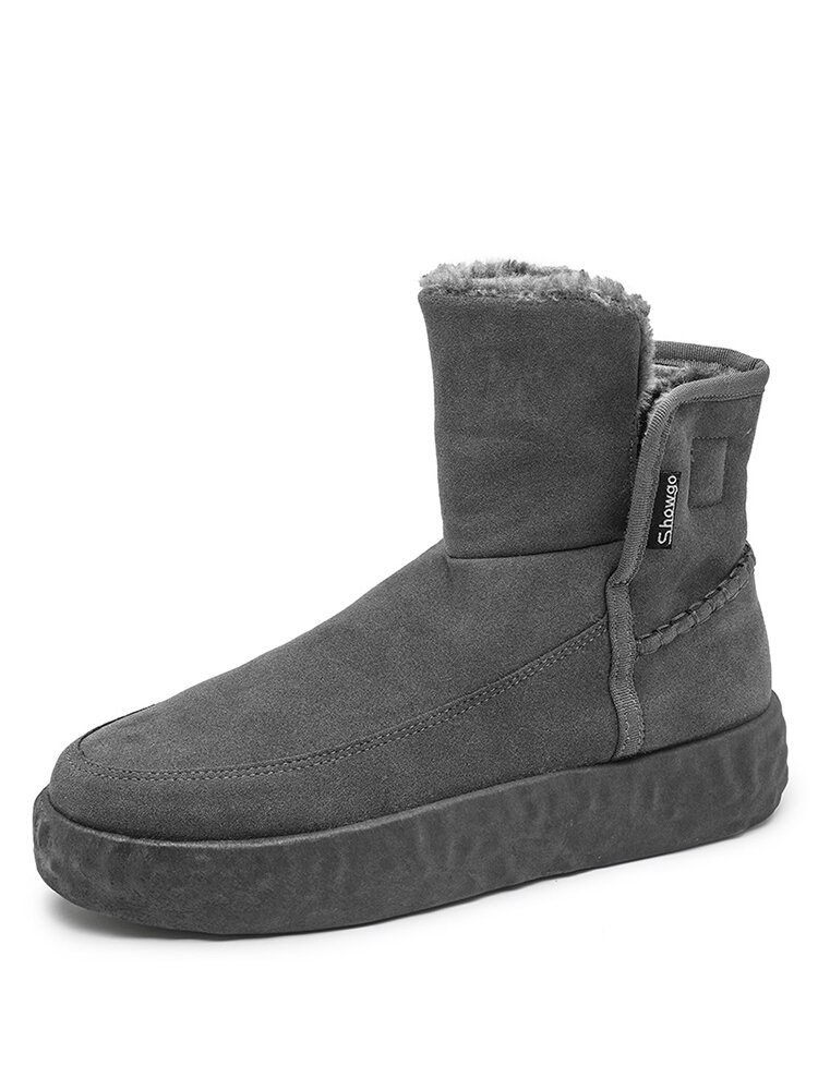 Men Soft Comfy Suede Fabric Warm Lining Sport Platform Snow Boots