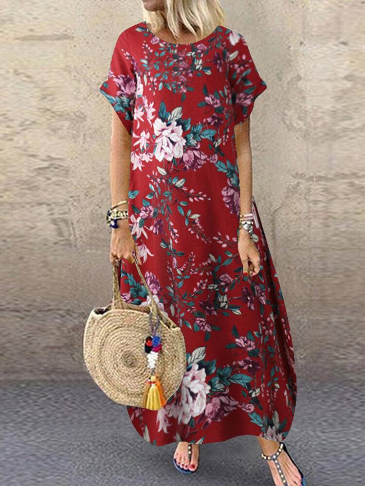 Vintage Flowers Print Plus Size Maxi Dress