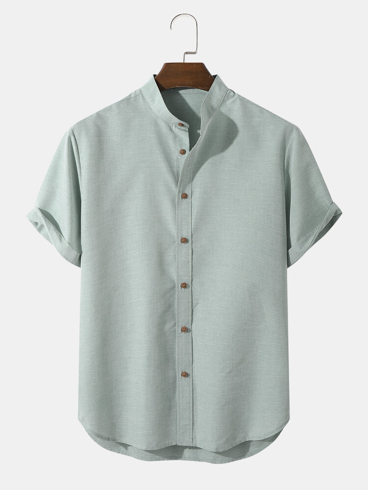 Mens Solid Color Grandad Collar Button Up Casual Short Sleeve Shirts