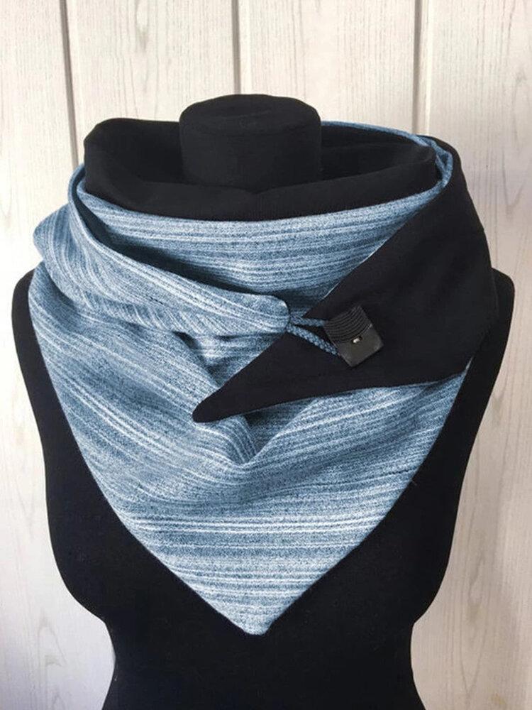 Sciarpa stampata con scialle a caldo spesso a righe da donna