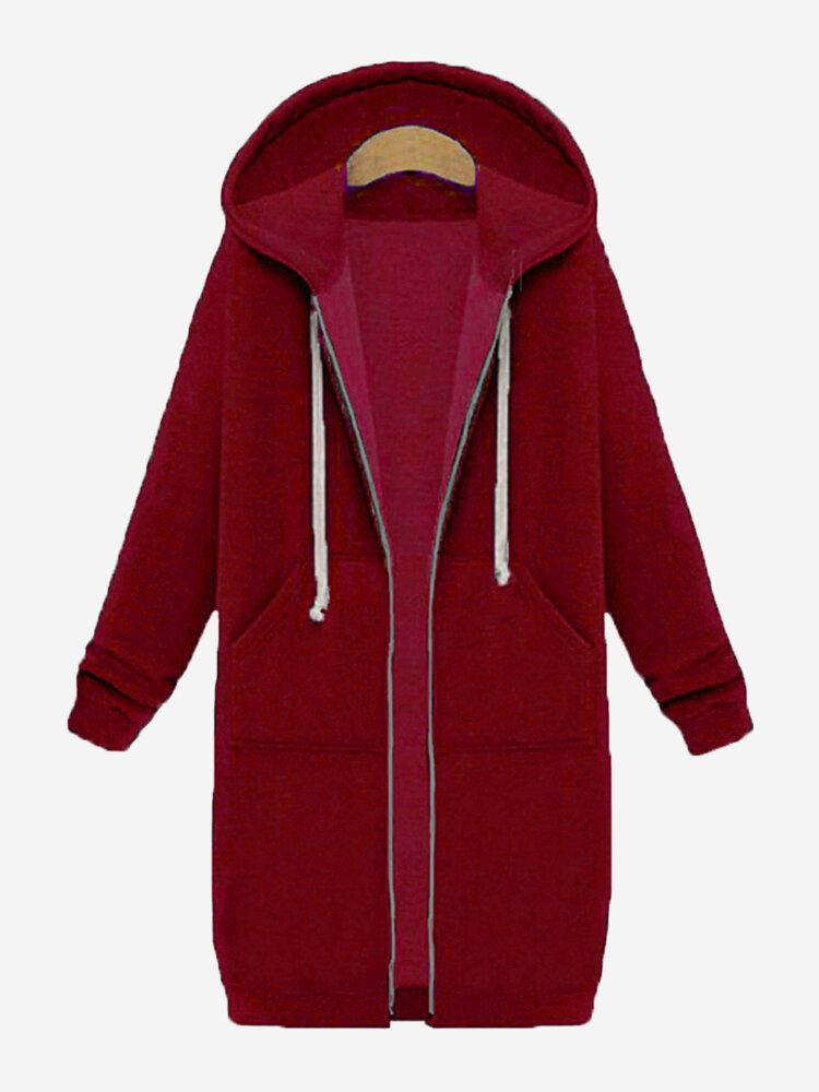 カジュアルな女性の長袖ジッパーフード付きポケットコート