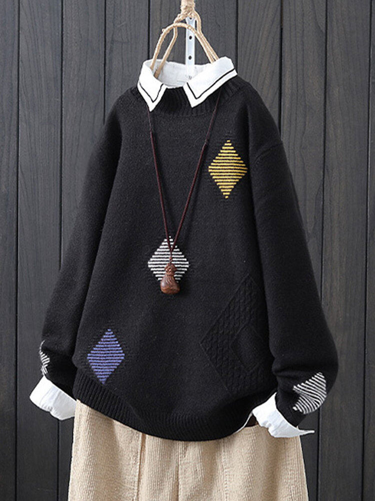 Geometric Jacquard Knit Long Sleeve Pullover Sweater For Women