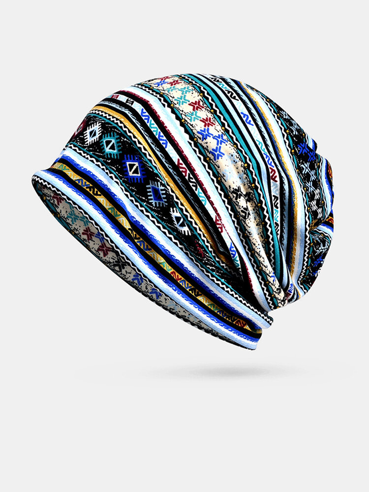 Wave Cap Geometric Pattern Cotton Custom Hats Headgear Bib Dual-use Hats