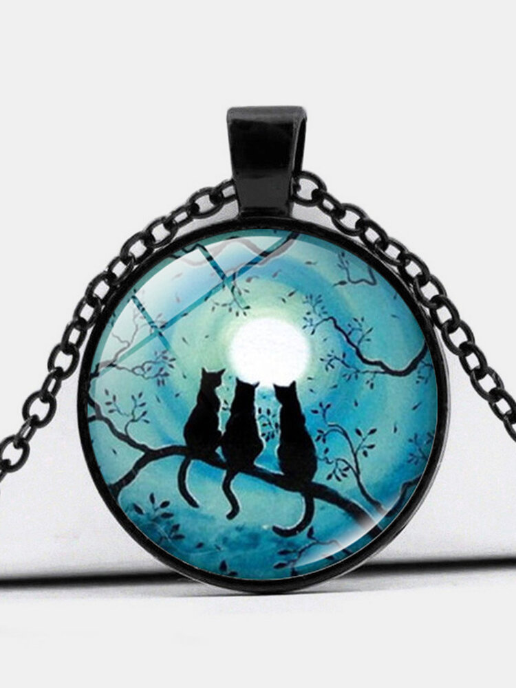 Vintage Glass Printed Women Necklace Blue Moon Tree-Branch Cat PendantSweater Chain