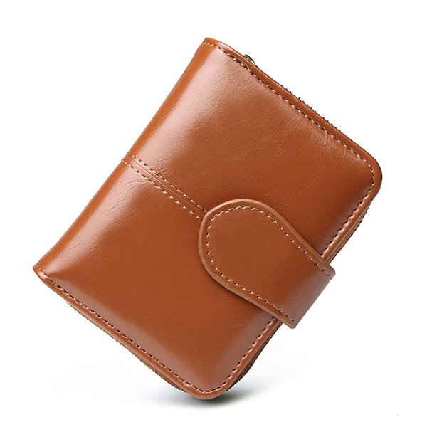 Women Oil Wax Biford Short Wallet Coin Pocket Purse 7 Card Slot